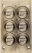 view [Bakelite labels, photograph] digital asset: [Bakelite labels, photograph].