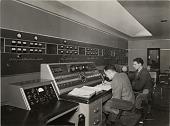 view [Control desk of the Aspidistra transmitter at Hornby, England] digital asset: [Control desk of the Aspidistra transmitter at Hornby, England]