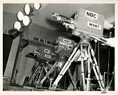 view TV Cameras on the set (pencil on verso]. [Black-and-white photoprint digital asset: TV Cameras on the set (pencil on verso]. [Black-and-white photoprint, 1939 or later?]