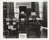 view [RCA receiver exhibit with price cards, black & white photoprint] digital asset: [RCA receiver exhibit with price cards, black & white photoprint]
