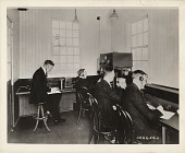 view [Four men in station KDKA's radio room, black & white photoprint] digital asset: [Four men in station KDKA's radio room, black & white photoprint]