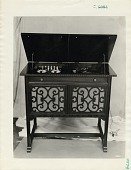 view [Cabinet with phonograph and AR-813 radio, black & white photoprint] digital asset: [Cabinet with phonograph and AR-813 radio, black & white photoprint]
