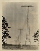 view [Radio Central, Rocky Point, Long Island multiple tuned antenna system, black & white photoprint.] digital asset: [Radio Central, Rocky Point, Long Island multiple tuned antenna system, black & white photoprint.]