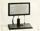 view [Crystal detector on display with plaque, black-and-white photoprint.] digital asset: [Crystal detector on display with plaque, black-and-white photoprint.]