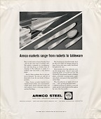 view Armco markets range from rockets to tableware, [black & white advertisement; tear sheet] digital asset: Armco markets range from rockets to tableware, [black & white advertisement; tear sheet].