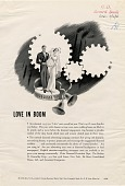 view Love in Bloom, [black & white advertisement; tear sheet] digital asset: Love in Bloom, [black & white advertisement; tear sheet].