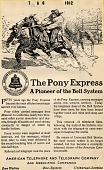 view The Pony Express -- A Pioneer of the Bell System [black & white advertisement; tear sheet] digital asset: The Pony Express -- A Pioneer of the Bell System [black & white advertisement; tear sheet].