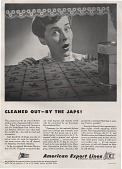 view Cleaned out - by the Japs!, [black & white advertisement; tear sheet] digital asset: Cleaned out - by the Japs!, [black & white advertisement; tear sheet].