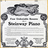 view Four Undeniable Reasons why a Steinway Piano [black & white advertisement; tear sheet] digital asset: Four Undeniable Reasons why a Steinway Piano [black & white advertisement; tear sheet].