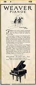 view Weaver Pianos [black & white advertisement; tear sheet] digital asset: Weaver Pianos [black & white advertisement; tear sheet].