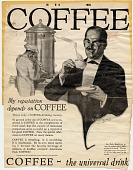 view My reputation depends on COFFEE [black & white advertisement; tear sheet] digital asset: My reputation depends on COFFEE [black & white advertisement; tear sheet].
