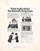 view Great myths about the Women's Army Corps. [black & white advertisement; tear sheet] digital asset: Great myths about the Women's Army Corps. [black & white advertisement; tear sheet].