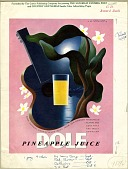 view [Dole pineapple juice advertisement with illustration of guitar and glass, photomechanical proof sheet] digital asset: [Dole pineapple juice advertisement with illustration of guitar and glass, photomechanical proof sheet]