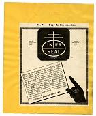 "view ""In-er-seal"" [black & white advertisement; tear sheet] digital asset: ""In-er-seal"" [black & white advertisement; tear sheet]."