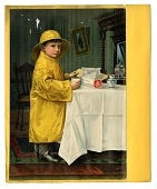 view [Boy in yellow rain coat, hat, and boots eating crackers and milk at a table with a white tablecloth, color advertisement; tear sheet] digital asset: [Boy in yellow rain coat, hat, and boots eating crackers and milk at a table with a white tablecloth, color advertisement; tear sheet].