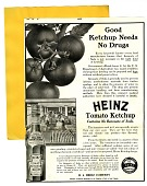 view Good ketchup needs no drugs. [black & white advertisement; tear sheet] digital asset: Good ketchup needs no drugs. [black & white advertisement; tear sheet].