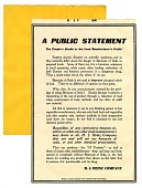view A Public Statement / The People's health or the Food manufacturer's Profit! [black & white advertisement; tear sheet] digital asset: A Public Statement / The People's health or the Food manufacturer's Profit! [black & white advertisement; tear sheet].