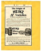 view The Origin of Heinz 57 Varieties, [black & white advertisement; tear sheet] digital asset: The Origin of Heinz 57 Varieties, [black & white advertisement; tear sheet].