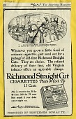 view Richmond Straight Cut cigarettes - plain or cork tip [black & white advertisement; tear sheet] digital asset: Richmond Straight Cut cigarettes - plain or cork tip [black & white advertisement; tear sheet].