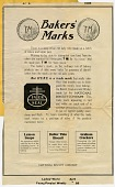 view Bakers' Marks. [black & white advertisement; tear sheet] digital asset: Bakers' Marks. [black & white advertisement; tear sheet].