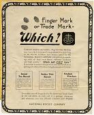 view Finger mark or Trade mark - Which? [black & white advertisement; tear sheet] digital asset: Finger mark or Trade mark - Which? [black & white advertisement; tear sheet].