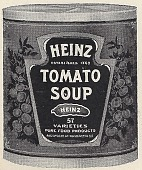 view [Heinz Tomato Soup, black & white advertisement; tear sheet] digital asset: [Heinz Tomato Soup, black & white advertisement; tear sheet].