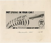 view Put Spring in your car! Get a Texaco check-up now! [black & white advertisement; tear sheet] digital asset: Put Spring in your car! Get a Texaco check-up now! [black & white advertisement; tear sheet].