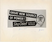 view Great new source of power! Sky Chief gasoline with Petrox [black & white advertisement; tear sheet] digital asset: Great new source of power! Sky Chief gasoline with Petrox [black & white advertisement; tear sheet].