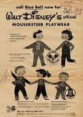 view Call Blue Bell now for Walt Disney's official Mouseketeer playwear [black & white advertisement; tear sheet] digital asset: Call Blue Bell now for Walt Disney's official Mouseketeer playwear [black & white advertisement; tear sheet].