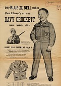 view Only Blue Bell makes Walt Disney's official Davy Crockett jeans, jackets, shirts [black & white advertisement; tear sheet] digital asset: Only Blue Bell makes Walt Disney's official Davy Crockett jeans, jackets, shirts [black & white advertisement; tear sheet].