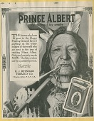 view [Native American smoking Prince Albert tobacco : advertisement, proof.] digital asset: [Native American smoking Prince Albert tobacco : advertisement, proof.] 1915.