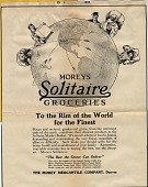 view Moreys [sic] Solitaire Groceries [advertisement: proof] digital asset: Moreys [sic] Solitaire Groceries [advertisement: proof], 1915.