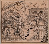 view [Sapanule advertisement: Black & white etching on pink paper: of 3 women, 3 children and one man putting up sign. Trade card] digital asset: [Sapanule advertisement: Black & white etching on pink paper: of 3 women, 3 children and one man putting up sign. Trade card].
