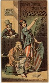 view No More Chinese / cheap labor / Celluloid / Cuffs, Collars / & Bosoms [trade card] digital asset: No More Chinese / cheap labor / Celluloid / Cuffs, Collars / & Bosoms [trade card].