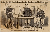 view Melican Man Know How to Make Polish Iron [three Chinese men ironing laundry] [trade card] digital asset: Melican Man Know How to Make Polish Iron [three Chinese men ironing laundry] [trade card].