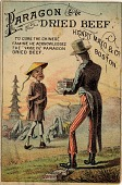 """view To cure the Chinese famine he acknowledges the """"Fame In"""" Paragon Dried Beef [trade card] digital asset: To cure the Chinese famine he acknowledges the """"Fame In"""" Paragon Dried Beef [trade card]."""