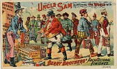 view Warshaw Collection of Business Americana Subject Categories: Paints digital asset: Uncle Sam Supplying the World with / Berry Brothers' Architectural / Finishes. [Trade card].