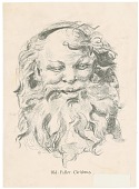 view Old Father Christmas [portrait: reproduction of a drawing in black and ecru] digital asset: Old Father Christmas [portrait: reproduction of a drawing in black and ecru]