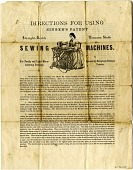 view Instructions for Singer sewing machines [flyer] digital asset: Instructions for Singer sewing machines [flyer, ca. 1880?]