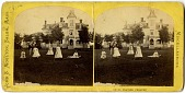 view [Women playing croquet in front of Victorian mansion : silver albumen stereograph] digital asset: [Women playing croquet in front of Victorian mansion : silver albumen stereograph, 19th century.]