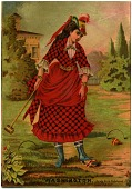 view [Woman in red plaid costume playing croquet : advertisement] digital asset: [Woman in red plaid costume playing croquet : advertisement, late 19th century?]