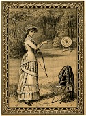 view [Victorian-era woman holding bow, pointing at target : drawing] digital asset: [Victorian-era woman holding bow, pointing at target : drawing, 19th century.]
