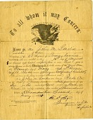 view [Discharge papers for John M. Lanelis,] digital asset: [Discharge papers for John M. Lanelis,] 1864.