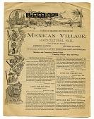 view Aztec Fair / ...MEXICAN VILLAGE, / HORTICULTURAL HALL [flyer on newsprint] digital asset: Aztec Fair / ...MEXICAN VILLAGE, / HORTICULTURAL HALL [flyer on newsprint].