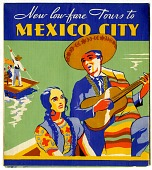 view New low-fare Tours to / MEXICO CITY [folded brochure, color] digital asset: New low-fare Tours to / MEXICO CITY [folded brochure, color].