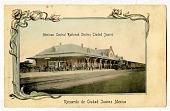view Mexican Central Railroad Station Ciudad Juarez / Recuerdo de Ciudad Juarez Mexico. [Color picture postcard] digital asset: Mexican Central Railroad Station Ciudad Juarez / Recuerdo de Ciudad Juarez Mexico. [Color picture postcard].