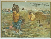 view [Calendar with illustration depicting an African-American family at the ocean] digital asset: [Calendar with illustration depicting an African-American family at the ocean], 1885?