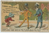 view [Calendar or trade card featuring an African-American shoeshine in New York] digital asset: [Calendar or trade card featuring an African-American shoeshine in New York, 1885?]