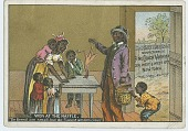 view [Calendar page depicting African-Americans with a small chicken] digital asset: [Calendar page depicting African-Americans with a small chicken, 1885?]