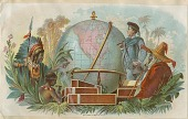 view [Men looking at globe : cigar box label, lithograph] digital asset: [Men looking at globe : cigar box label, lithograph].